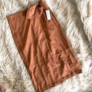 •NWT• Anthropologie Suede Midi Skirt